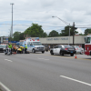 Motorcycle accident sends driver to hospital